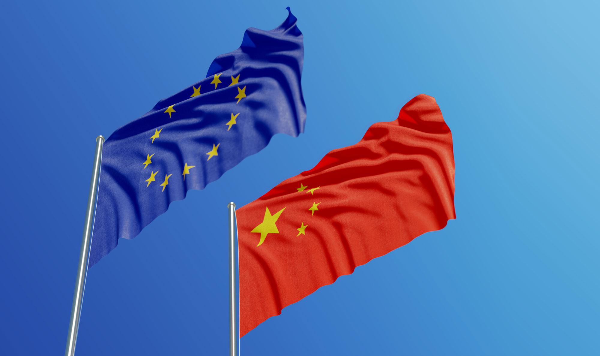 Europe China Flags